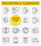 Набор значка вектора плана медицины и телемедицины бесплатная иллюстрация