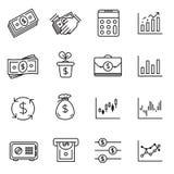 Набор значка вклада и финансовые деньги бесплатная иллюстрация