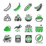 Набор значка зеленого гороха иллюстрация вектора