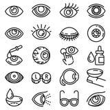 Набор значка зрачка, стиль плана иллюстрация вектора