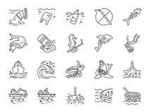 Набор значка морского загрязнения Включил значки как погань океана, отход, старье, пластмасса, чистка океана и больше бесплатная иллюстрация