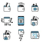 Набор значка обменом оплаты бумажника цифров иллюстрация штока