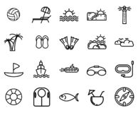 Набор значка пляжа с простым значком бесплатная иллюстрация