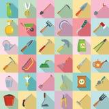 Набор значка садовничая инструментов, плоский стиль иллюстрация вектора