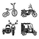 Набор значка трицикла, простой стиль иллюстрация вектора