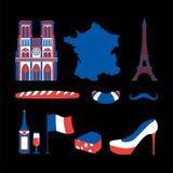 Набор значка Франции Национальный французский знак Эйфелева башня и Нотр-Дам de Париж Багет и вино Усик и круассан иллюстрация вектора