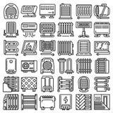 Набор значка электронагревателя, стиль плана иллюстрация вектора
