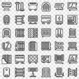Набор значка электронагревателя, стиль плана бесплатная иллюстрация