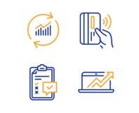 Набор значков безконтактные оплата, данные по контрольного списока и обновления Знак диаграммы продаж вектор иллюстрация штока