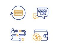 Набор значков быстрые подсказки, комиссия возмещения и путь путешествием Покупая вспомогательный знак вектор бесплатная иллюстрация
