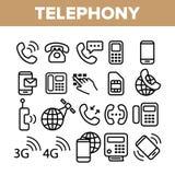 Набор значков вектора глобальной системы телефонирования линейный бесплатная иллюстрация