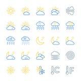 Набор значков вектора прогноза погоды иллюстрация штока