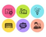 Набор значков гаража, воодушевленности и зарплаты Сертификат, быстрые подсказки и соединить знаки вектор иллюстрация вектора