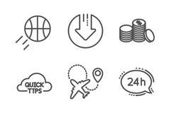 Набор значков денег баскетбола, самолета и банка Стрелка загрузки, быстрые подсказки и знаки обслуживания 24h вектор бесплатная иллюстрация