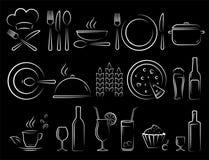 Набор значков еды ресторана притяжки руки мела иллюстрация вектора