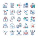 Набор значков рекламы, связи и сети бесплатная иллюстрация