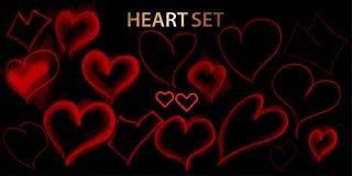 Набор значков руки сердца вычерченный изолированный на черной предпосылке Сердца на вебсайт, плакат, плакат, обои и день Валентай иллюстрация штока
