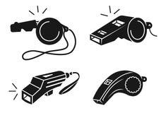 Набор значков свистка, простой стиль иллюстрация вектора