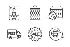 Набор значков скидок бесплатной доставки, хозяйственной сумки и календаря Машина когтя крана, глобус продажи и мира знаки вектор бесплатная иллюстрация