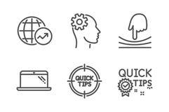 Набор значков статистики ноутбука, резинки и мира Инженерство, подсказки и быстрые знаки подсказок Компьютер, гибкость вектор иллюстрация штока