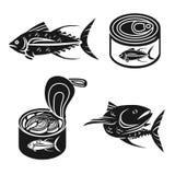 Набор значков тунца, простой стиль иллюстрация вектора