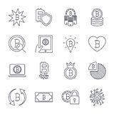 Набор значков Bitcoin различный для символа валюты денег интернета секретного и изображение монетки для использования в сети, при бесплатная иллюстрация