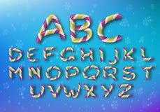 Набор золотых писем карамельки Шрифт яркого Нового Года вектора Striped алфавит мультфильма иллюстрация штока