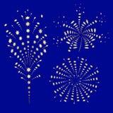 Набор золотых праздничных фейерверков иллюстрация вектора