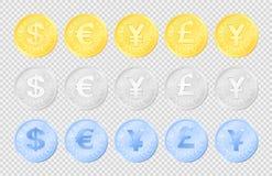 Набор изображения монеток валюты иллюстрация штока