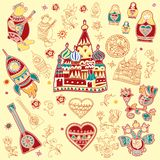Набор изолированных милых ярких элементов дизайна русских традиционных символов иллюстрация штока