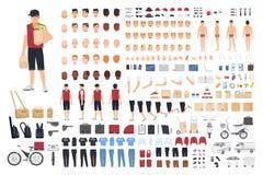 Набор или конструктор анимации парня поставки еды Комплект мужских частей тела ` s персонажа из мультфильма в различных позициях  бесплатная иллюстрация