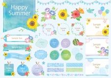 Набор иллюстрации акварели лета бесплатная иллюстрация