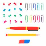 Набор иллюстрации вектора стиля multi покрашенных бумажных штырей офиса, бумажных зажимов, ручки, карандаша и ластика плоский изо иллюстрация вектора