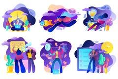 Набор 6 иллюстраций на предмете планирования, цены, самообладания и управлять, ваше время эффектно бесплатная иллюстрация