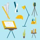 Набор инструментов деятельности для архитектора, который нужно работать иллюстрация вектора