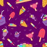 Набор картины безшовный мороженого отсутствие линии стиля дизайна формы плоского красочного r иллюстрация штока