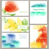 500 набор карт приглашения, открыток, реклам, дизайна акварели для визитных карточек иллюстрация вектора