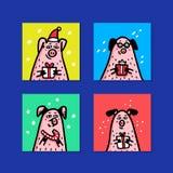 Набор карт свиньи Смешные свиньи с тросточками конфеты, подарками и шляпами santa Символ Нового Года 2019 китайцев Характеры стил стоковое фото rf