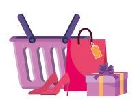 Набор корзины для товаров и значка иллюстрация вектора