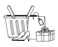 Набор корзины для товаров и значка бесплатная иллюстрация