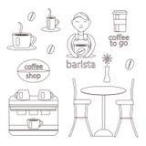 Набор кофе, кофеварка и barista иллюстрация штока