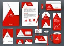 Набор клеймя дизайна профессионала всеобщий красный с элементом origami Стоковая Фотография