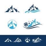 Набор логотипа горы и утеса плоский стоковая фотография