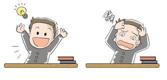 Набор мальчика студента - достижение и фрустрация иллюстрация штока