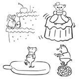 Набор милого вектора смешной костюмировал смешных свиней иллюстрация штока