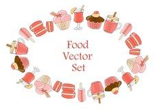 Набор напитков, печениь и помадок Элементы изолированные на белизне для меню ресторана и кафа - вектор иллюстрация вектора