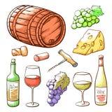 Набор, напиток и винодельня руки вина вычерченные бесплатная иллюстрация