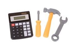 Набор небольшой утилиты с простым калькулятором стоковое изображение rf