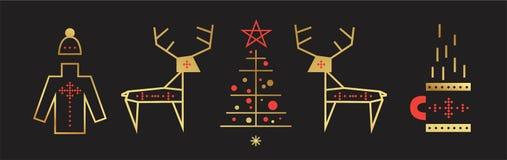 Набор Нового Года и веселого рождества бесплатная иллюстрация