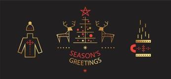 Набор Нового Года и веселого рождества иллюстрация вектора